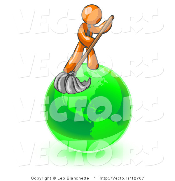 Vector of Orange Guy Using a Wet Mop with Green Cleaning Products to Clean up the Environment of Planet Earth