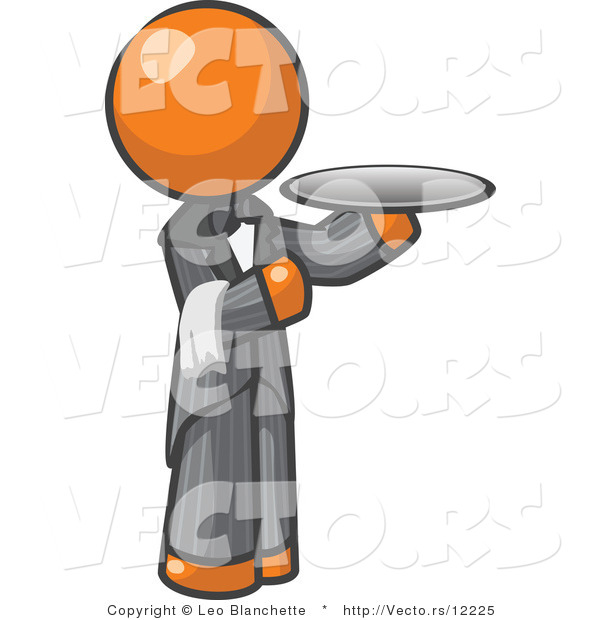 Vector of Orange Guy Waitor Holding a Platter