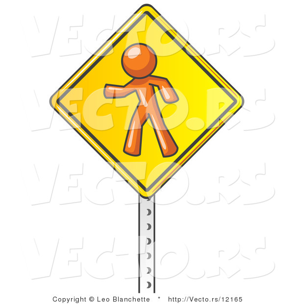 Vector of Orange Guy Walking on a Yellow Traffic Sign Posted on a Silver Pole