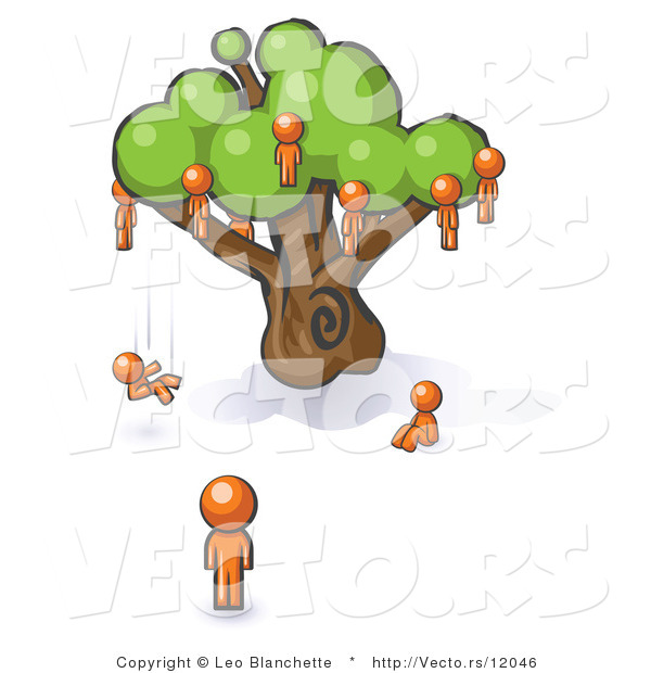 Vector of Orange Guy Watching Others Fall from the Family Tree
