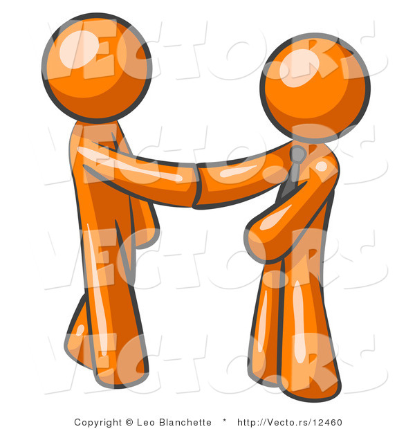 Vector of Orange Guy Wearing a Tie, Shaking Hands with Another upon Agreement of a Business Deal