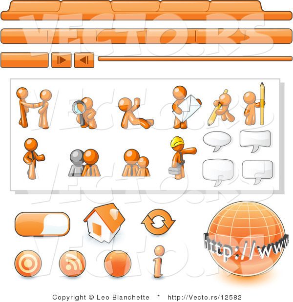 Vector of Orange Guy Web Template with Tabs and Buttons