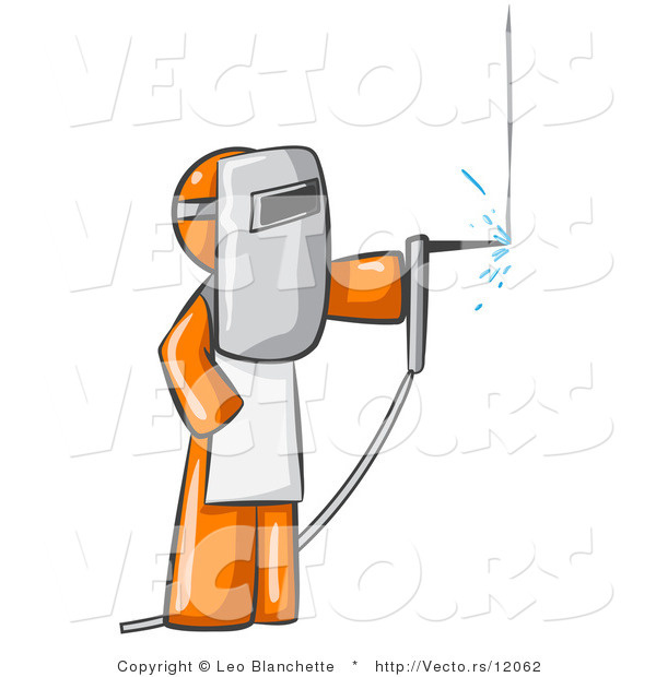 Vector of Orange Guy Welding Wearing Protective Gear