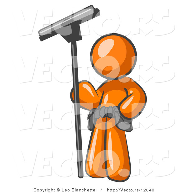 Vector of Orange Guy Window Cleaner Standing with a Squeegee