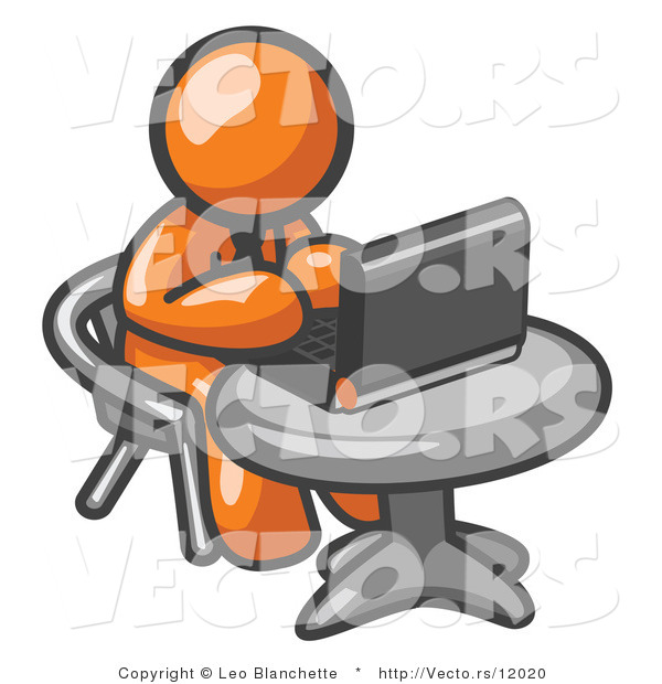 Vector of Orange Guy Working on a Laptop Computer on a Table