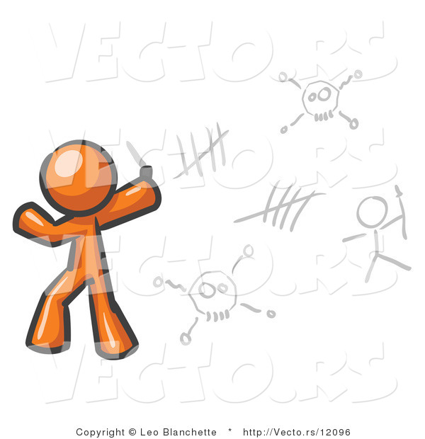 Vector of Orange Guy Writing Tribal Designs on a Wall