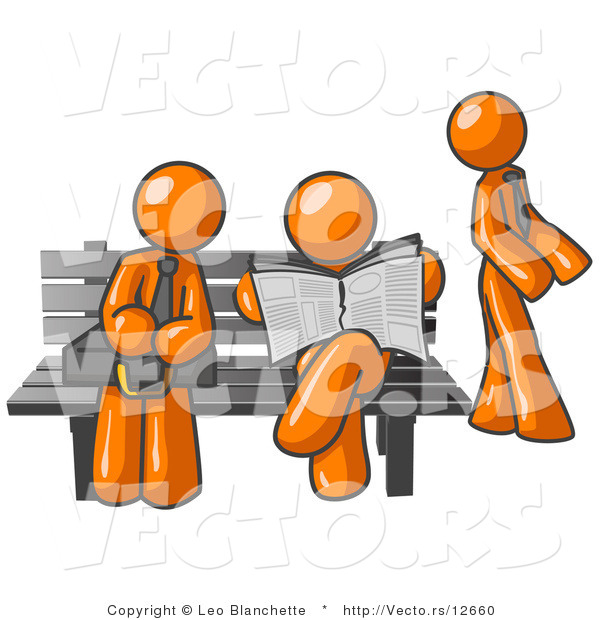 Vector of Orange Guys at a Bench at a Bus Stop