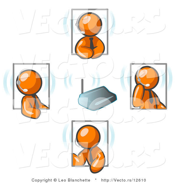 Vector of Orange Guys Holding a Phone Meeting and Wearing Wireless Headsets