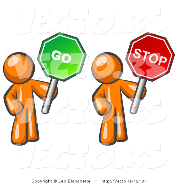 Vector of Orange Guys Holding Red and Green Stop and Go Signs