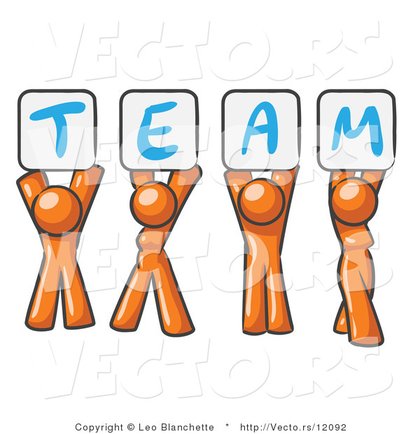 Vector of Orange People Holding up Team Signs