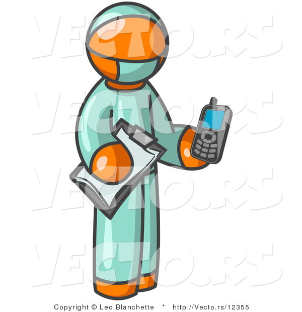 Vector of Orange Surgeon Guy Holding a Clipboard and Cellular Telephone