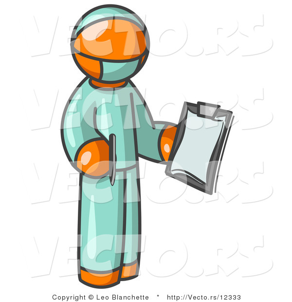 Vector of Orange Surgeon Guy in Green Scrubs, Holding a Clipboard Clipart Illustration