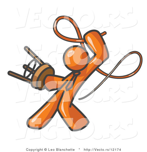 Vector of Orange Tamer Guy Holding a Stool and Cracking a Whip, on a White Background
