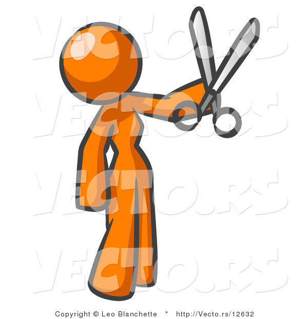 Vector of Orange Woman Standing and Holing up a Pair of Scissors