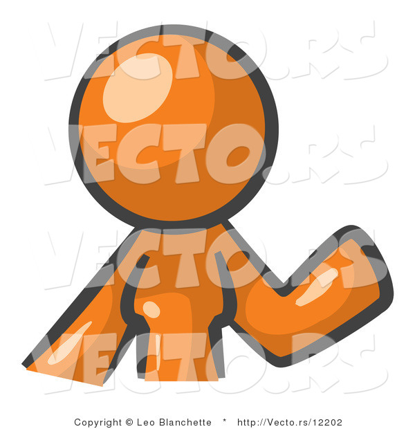 Vector of Orange Woman Waving