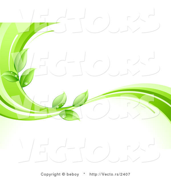 Vector of Organic Green Leaves Wet with Dew Drops on a Green Wave Border
