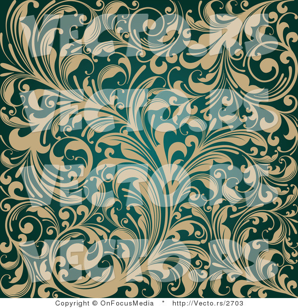 Vector of Ornate Beige Flourishes over Teal Background Design