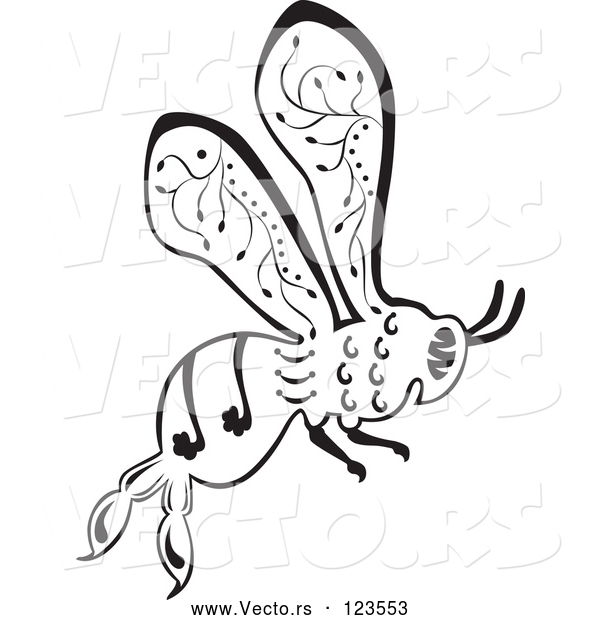 Vector of Ornate Black and White Bee in Flight