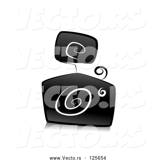 Vector of Ornate Black and White Camera Design with Swirls