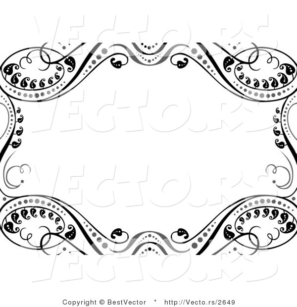 Vector of Ornate Black Leafy Vines Around White Copyspace Background Border Design