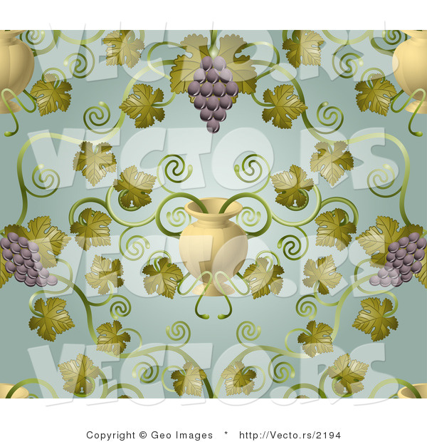 Vector of Ornate Purple Grape Vines with Urn Pattern Background
