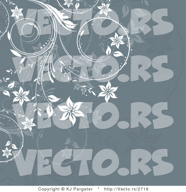 Vector of Ornate White Floral Vines over Green Gray Background Design