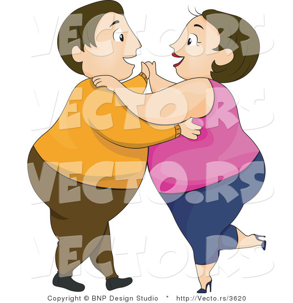 Vector of Overweight Couple Laughing and Dancing Together