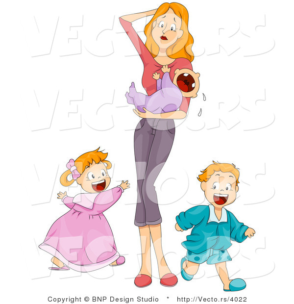 Vector of Overwhelmed Mother Holding Crying Baby While Son and Daughter Run Around Playing