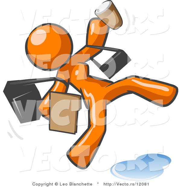 Vector of Overwhelmed Orange Lady Falling on a Puddle of Water