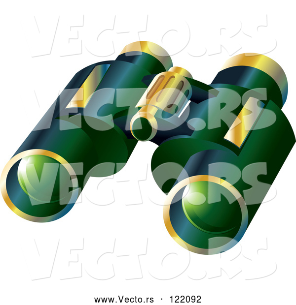 Vector of Pair of 3d Green and Gold Binoculars