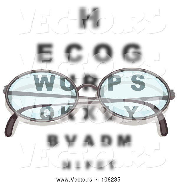 Vector of Pair of Reading Glasses over an Eye Chart