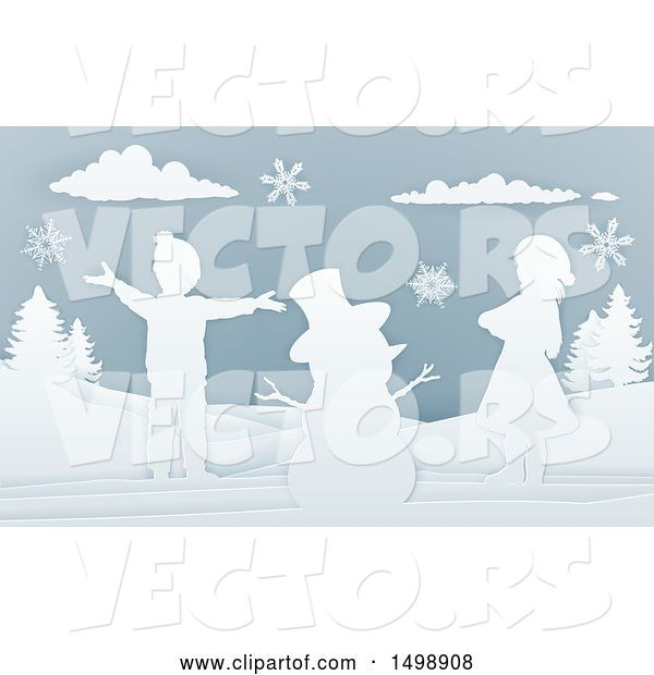 Vector of Paper Art Styled Snowman and Children in the Snow
