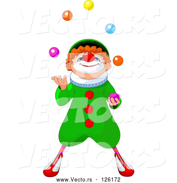 Vector of Party Clown Looking up and Juggling