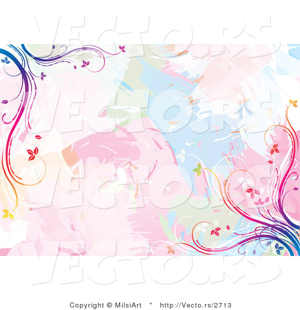 Vector of Pastel Watercolors with Rainbow Vines Background Design