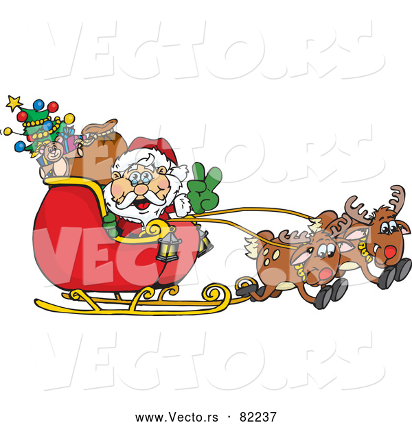 Vector of Peace Sign Santa Navigating Sleigh with Reindeer