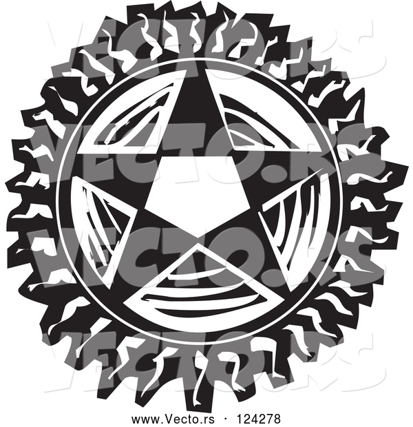 : Vector of Pentagram Star Black and White Woodcut