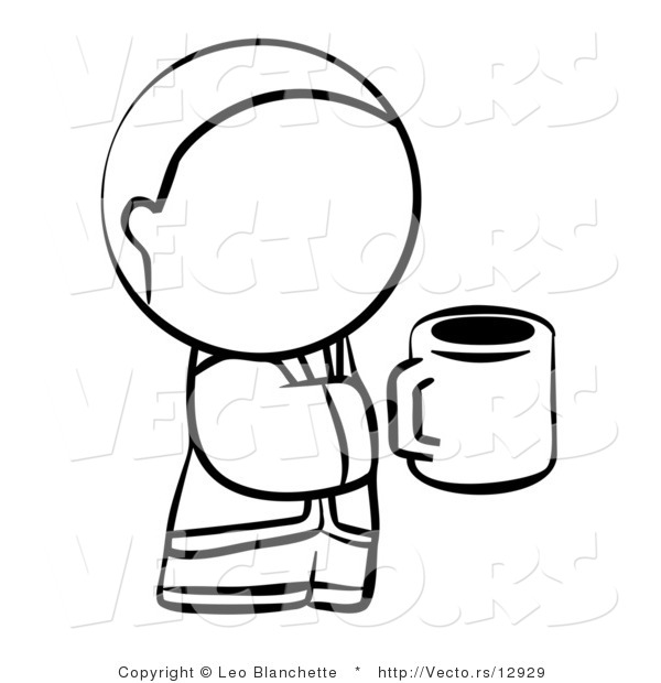 Vector of Person Holding a Cup of Coffee - Coloring Page Outlined Art