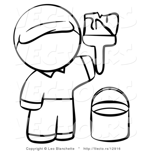 Vector of Person Painting - Coloring Page Outlined Art