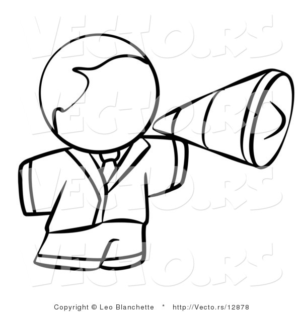 Vector of Person Using a Megaphone - Coloring Page Outlined Art