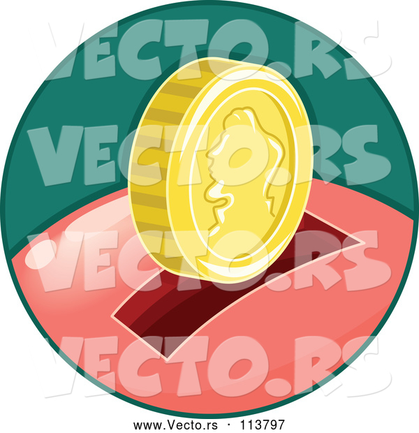 Vector of Piggy Bank in a Green Circle