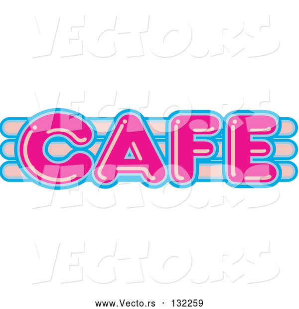 Vector of Pink and Blue Cafe Sign Text