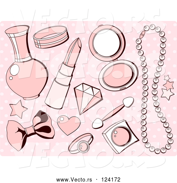 Vector of Pink Girly Makeup and Accesories over Polka Dots