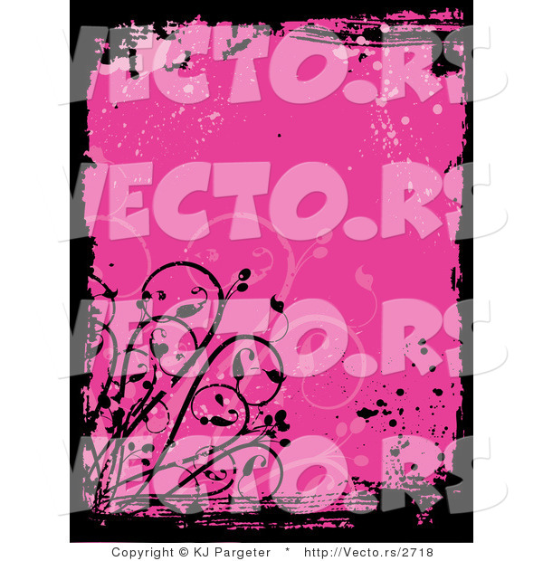 Vector of Pink Grunge Background with Splatters