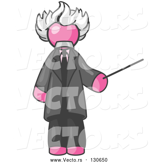 Vector of Pink Guy Depicted As Albert Einstein Holding a Pointer Stick