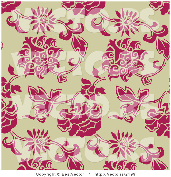 Vector of Pink Leaves and Flowers over Beige Background - Seamless Web Design Elements