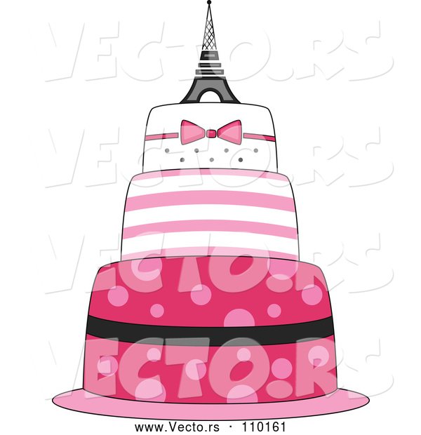 Vector of Pink Parisian Cake with an Eiffel Tower Topper