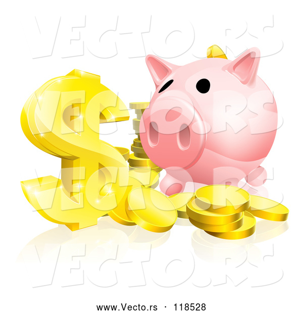Vector of Pink Piggy Bank and Abundance of Gold Coins and Dollar Symbol