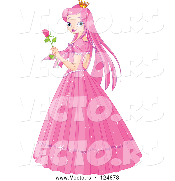 Vector of Pink Princess Holding a Rose
