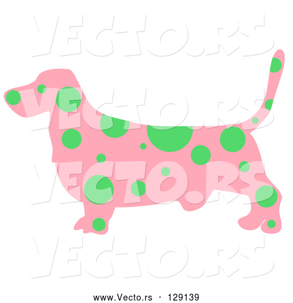 Vector of Pink Profiled Basset Hound Dog with Green Spots