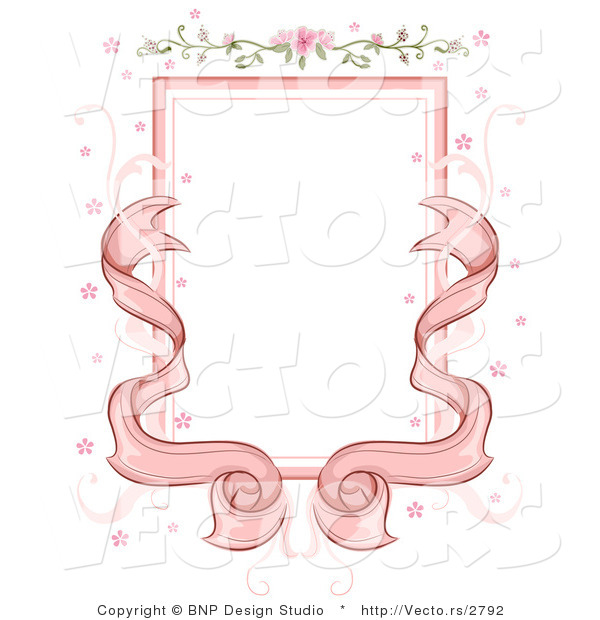 Vector of Pink Ribbons with Floral Wedding Background Frame Design